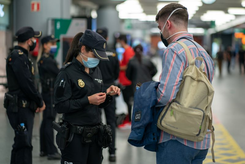 port authorities checking traveller's documents
